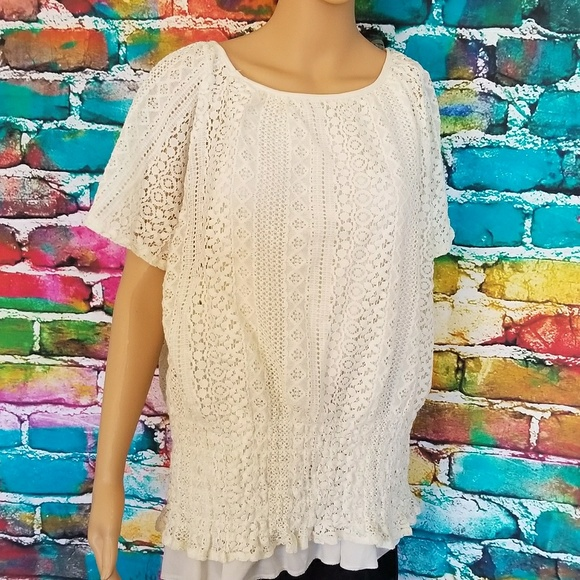 c056ffef4a784 Cream white lace two layer blouse
